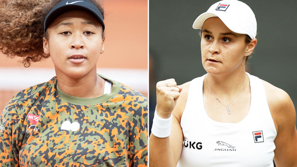 Naomi Osaka and Ash Barty, pictured here on the tennis court.