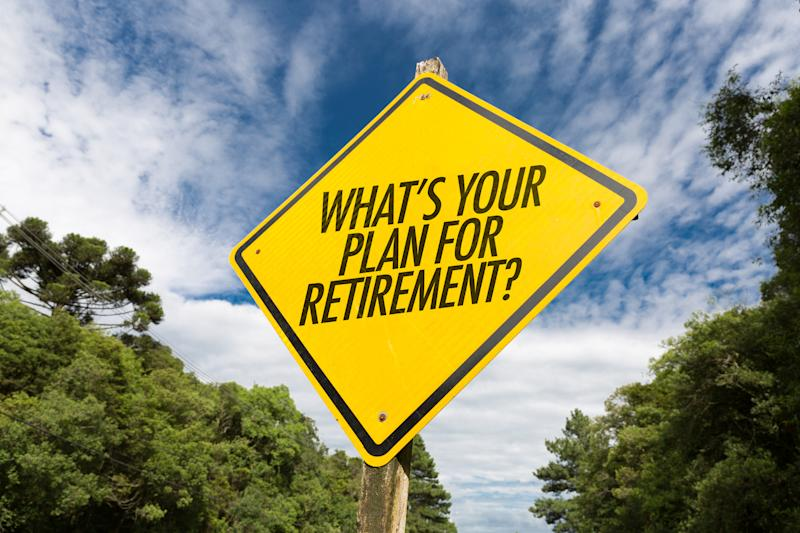 A yellow road sign is shown, and on it is printed the question what's your plan for retirement.