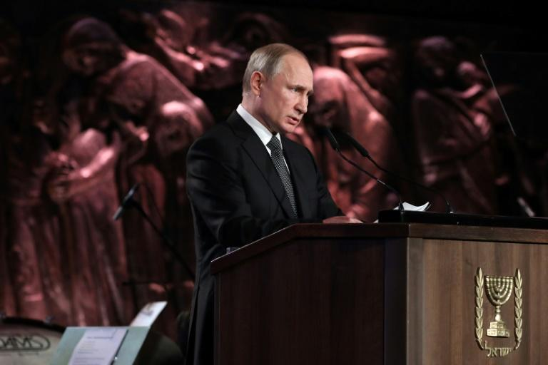 Putin was speaking in Jerusalem at an event marking 75 years since the liberation of the Nazi death camp of Auschwitz