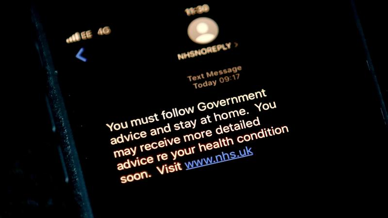 NHS to send 'check-in text' to those with suspected Covid-19