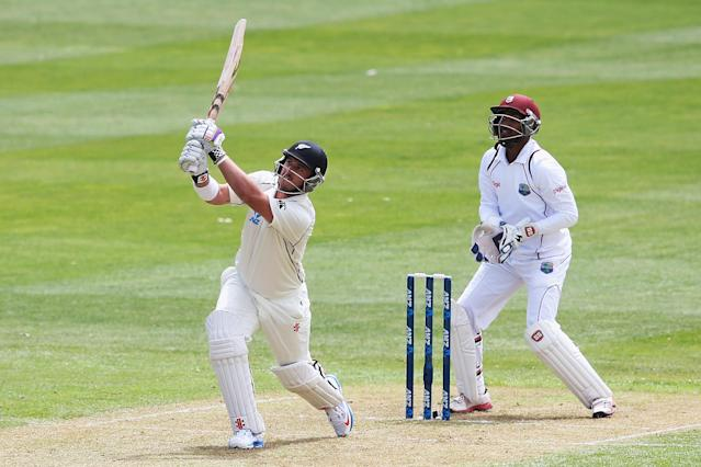 DUNEDIN, NEW ZEALAND - DECEMBER 03: Hamish Rutherford of New Zealand hits the ball away for six runs during day one of the first test match between New Zealand and the West Indies at University Oval on December 3, 2013 in Dunedin, New Zealand. (Photo by Hannah Johnston/Getty Images)
