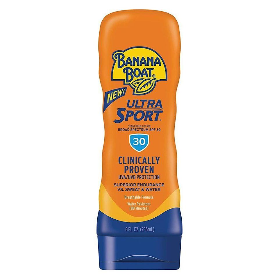 "<p><strong>Banana Boat</strong></p><p>amazon.com</p><p><strong>$6.18</strong></p><p><a href=""https://www.amazon.com/Banana-Boat-Performance-Sunscreens-Technology/dp/B0030ZEGDY?tag=syn-yahoo-20&ascsubtag=%5Bartid%7C2089.g.36107013%5Bsrc%7Cyahoo-us"" rel=""nofollow noopener"" target=""_blank"" data-ylk=""slk:Shop Now"" class=""link rapid-noclick-resp"">Shop Now</a></p><p>Off to run on the beach? Lather up with Banana Boat's sweat-fighting sunscreen pre-sun exposure. Specifically designed for sports enthusiasts and active sun lovers who don't want to slow down, this absorbs quickly and resists both sweat and water for up to 80 minutes.</p>"