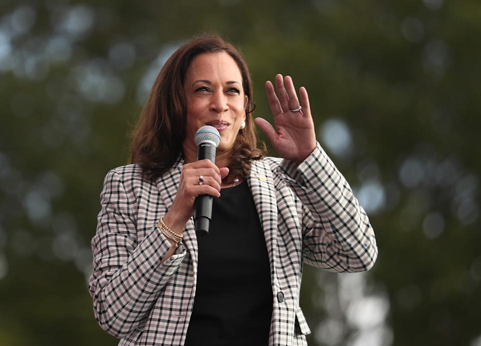MIAMI, FLORIDA - OCTOBER 31: Democratic Vice Presidential Nominee Sen. Kamala Harris (D-CA) makes a campaign stop at Florida International University on October 31, 2020 in Miami, Florida. Harris continues to campaign before the November 3rd election day. (Photo by Joe Raedle/Getty Images)