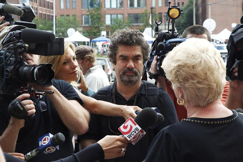 "This photo provided by the Sundance Institute shows director Joe Berlinger, center, interviewing Pat Donahue in the documentary film, ""Whitey: United States of America v. James J. Bulger."" James ""Whitey"" Bulger, the 84-year-old former crime boss, is among the voices in Berlinger's film which premieres at the 2014 Sundance Film Festival, in Park City, Utah. The film also includes interviews with prosecutors, defense attorneys and victims' relatives. (AP Photo/Sundance Institute, Daniel Wilson)"