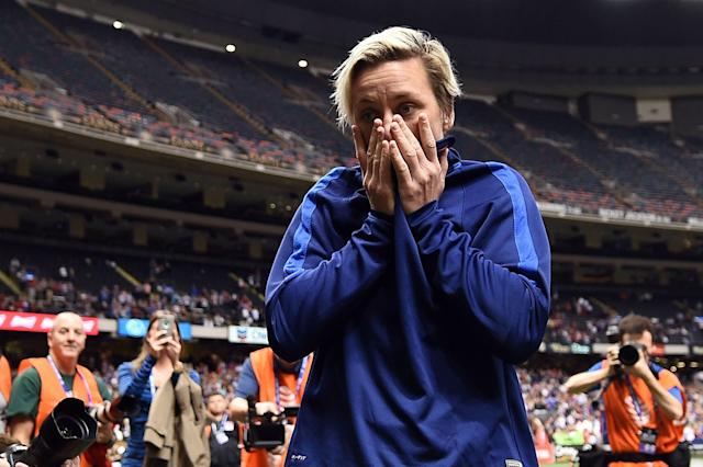 Abby Wambach was emotional after her final match in December 2015. Little did she know what lay in store for her. (Getty)