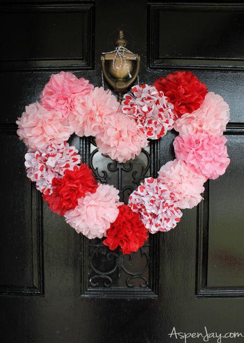 """<p>You might need to look twice to see it, but this festive Valentine's wreath is made from tissue paper flowers, not carnations. </p><p><strong>Get the tutorial at <a href=""""http://www.aspenjay.com/tissue-paper-heart-wreath-tutorial/"""" rel=""""nofollow noopener"""" target=""""_blank"""" data-ylk=""""slk:Aspen Jay"""" class=""""link rapid-noclick-resp"""">Aspen Jay</a>.</strong></p><p><a class=""""link rapid-noclick-resp"""" href=""""https://www.amazon.com/valentine-tissue-paper/s?k=valentine+tissue+paper&tag=syn-yahoo-20&ascsubtag=%5Bartid%7C10050.g.35057743%5Bsrc%7Cyahoo-us"""" rel=""""nofollow noopener"""" target=""""_blank"""" data-ylk=""""slk:SHOP VALENTINE'S TISSUE PAPER"""">SHOP VALENTINE'S TISSUE PAPER </a></p>"""