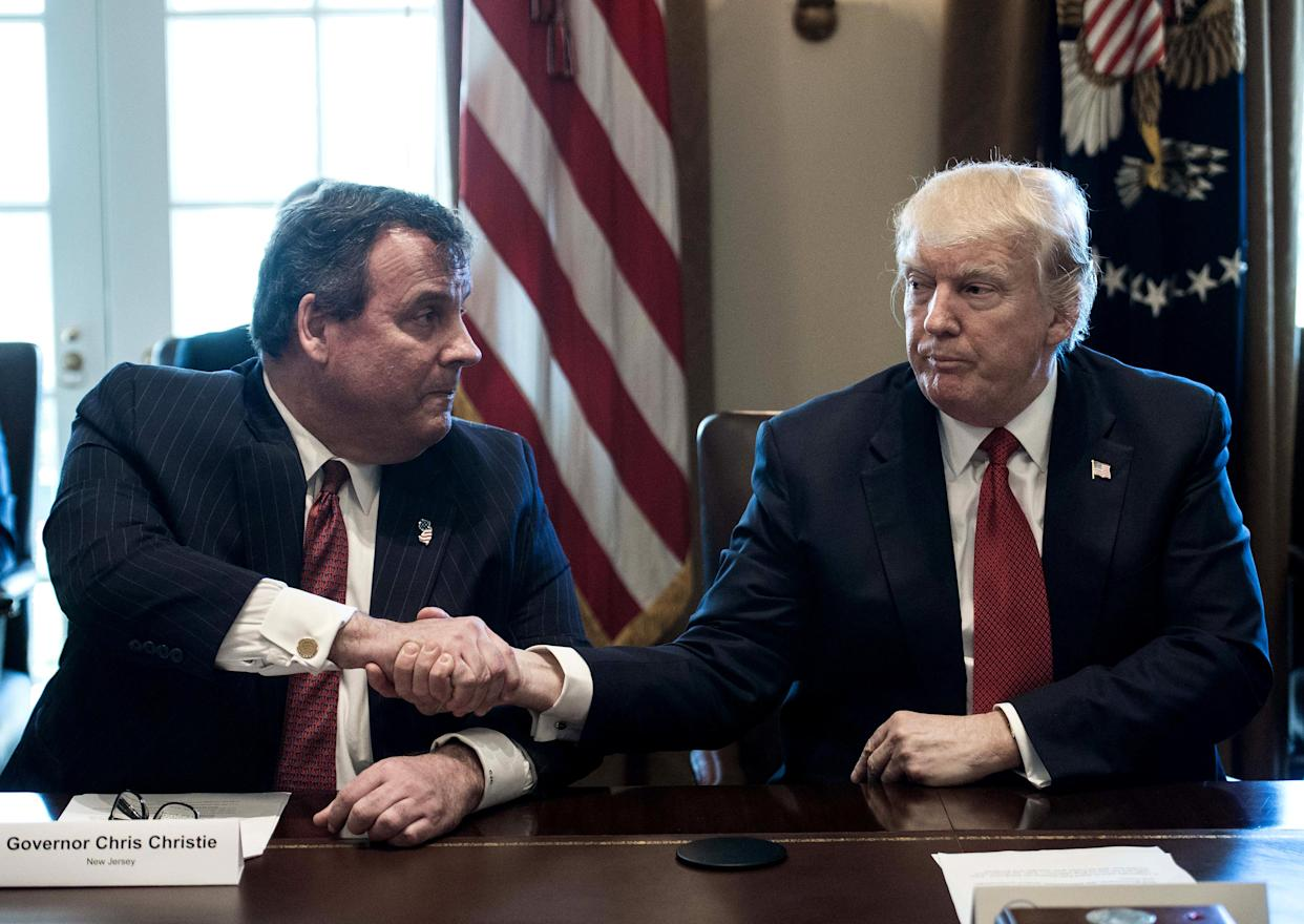 President Trump with New Jersey Gov. Chris Christie at a White House meeting about opioid and drug abuse, March 29. (Photo: Nicholas Kamm/AFP/Getty Images)