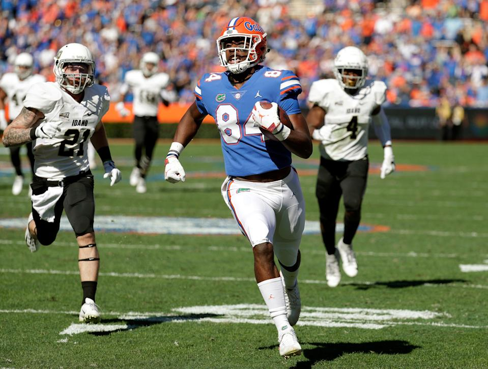 Florida tight end Kyle Pitts runs for a touchdown on a 52-yard pass play vs. Idaho on Nov. 17, 2018, in Gainesville, Fla.