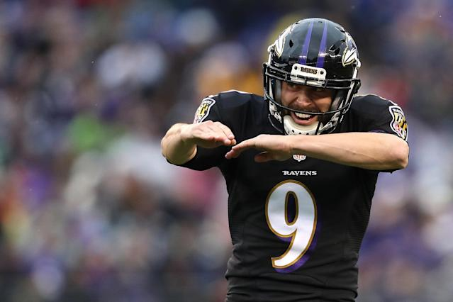 "The <a class=""link rapid-noclick-resp"" href=""/nfl/teams/bal/"" data-ylk=""slk:Baltimore Ravens"">Baltimore Ravens</a>' <a class=""link rapid-noclick-resp"" href=""/nfl/players/26534/"" data-ylk=""slk:Justin Tucker"">Justin Tucker</a> has a good chance to be the first kicker taken in fantasy drafts. (Photo by Patrick Smith/Getty Images)"