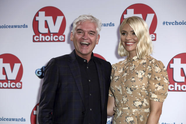 Phillip Schofield and Holly Willoughby at the TV Choice Awards in central London on Monday, Sept. 9, 2019. (Grant Pollard/Invision/AP)