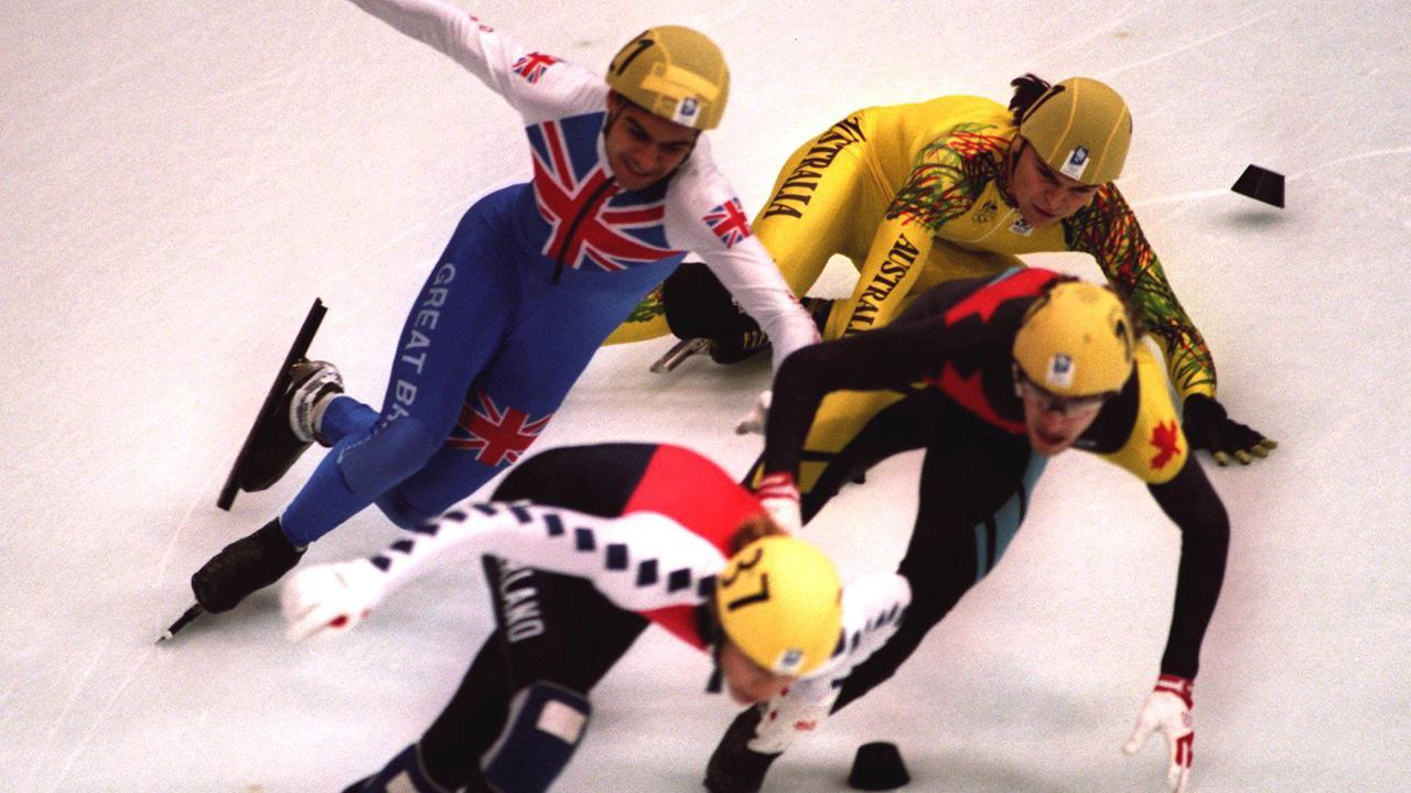 <p>Steven Bradbury (L) helped the men's 5000m speed skating relay team claim bronze in Lillehammer, Australia's very first Winter Olympics medal.</p>