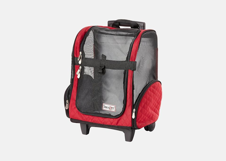 """<p>Thankfully, there are plenty of pet carriers out there with wheels, too. This one will let you roll through the airport with ease and comes equipped with side storage pockets, as well as a seat-belt loop to keep your pet safe—and the 4-in-1 design means it can also be carried as a backpack. A carry-on that only holds a puppy? Now that's our idea of """"packing light.""""</p> <p><strong>Buy now:</strong> <a href=""""https://fave.co/32IPaXo"""" rel=""""nofollow noopener"""" target=""""_blank"""" data-ylk=""""slk:$120, chewy.com"""" class=""""link rapid-noclick-resp"""">$120, chewy.com</a></p>"""