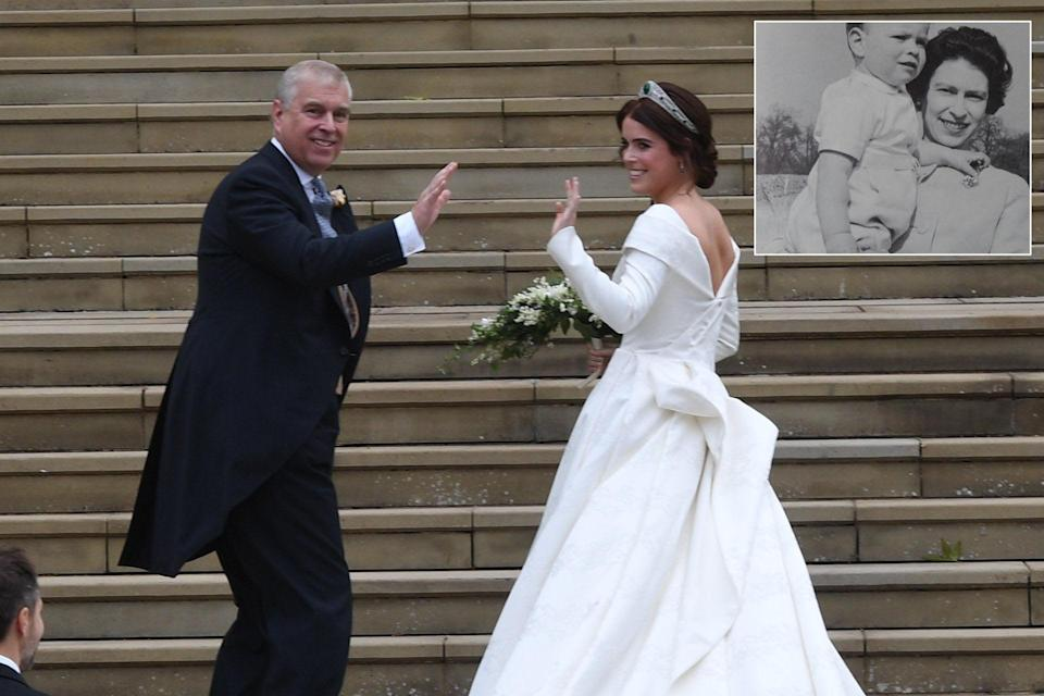 The Duke of York and Princess Eugenie on her wedding day in October 2018 [Photos: Getty/Instagram]