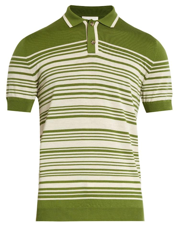 "<p><strong>Brooks Striped Merino Wool Polo</strong></p><p>Knit polos—sometimes referred to as sweater polos—feel very '70s. This Orley one in olive green and cream really takes you back (without veering into costume territory.)</p><p><em>$320, <a rel=""nofollow"" href=""http://www.matchesfashion.com/us/products/Orley-Brooks-striped-merino-wool-polo-shirt-1084274 "">matchesfashion.com</a><a rel=""nofollow"" href=""http://www.matchesfashion.com/us/products/Orley-Brooks-striped-merino-wool-polo-shirt-1084274 ""></a></em></p>"