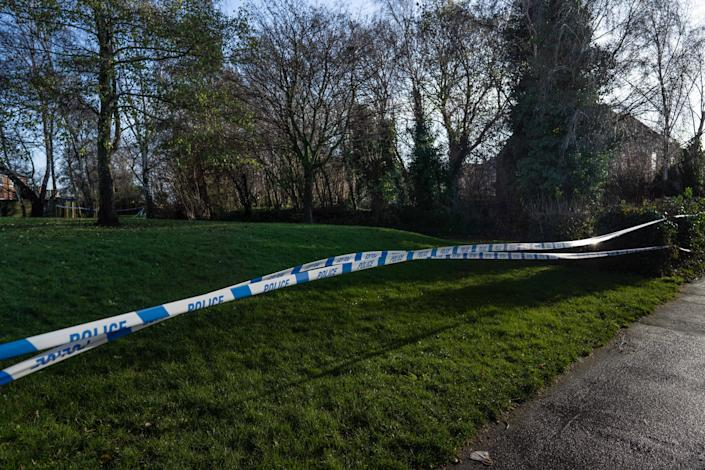 Police search undergrowth in Fistoft, Boston, Lincolnshire after the schoolboy was discovered dead on a village common. (SWNS)