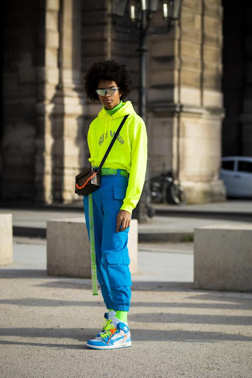 <p>Neon colorways are one sure-fire way to keep the cargo-pant look fresh for a new season. Just add an ultrabright hoodie or tee to stay on theme. </p>