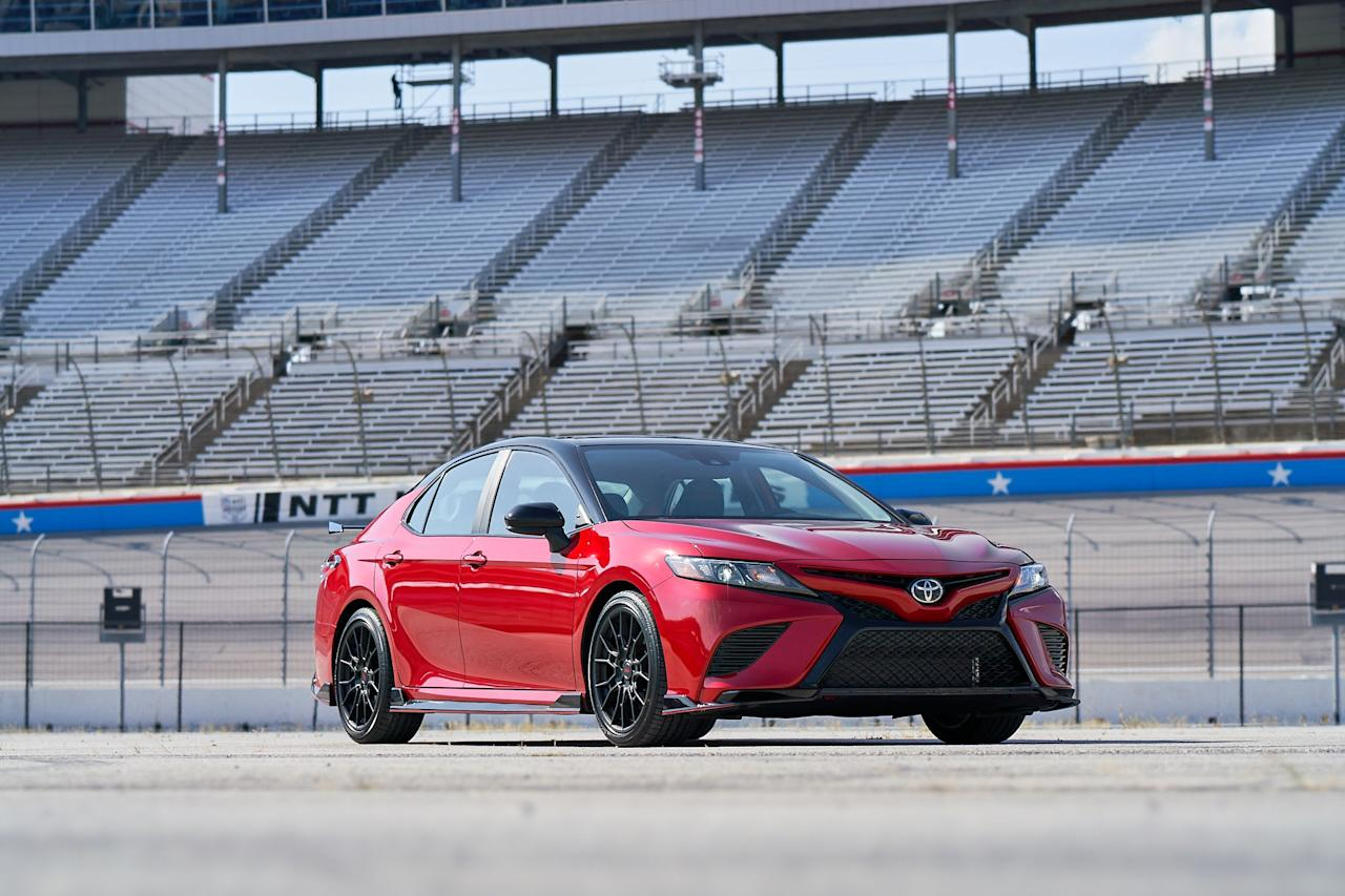 "<p>The 2020 Toyota Camry TRD represents a fairly legitimate performance-oriented upgrade over Toyota's lesser six-cylinder mid-size family sedans. Read the full story <a href=""https://www.caranddriver.com/reviews/a28957090/2020-toyota-camry-trd-drive/"" target=""_blank"">here</a>.</p>"