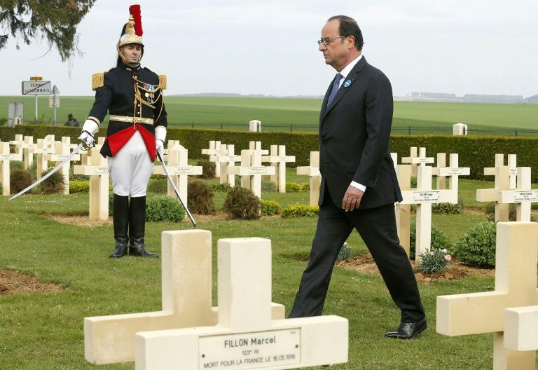 "French President François Hollande commemorated the World War I battle of Chemin des Dames in northern France and credited Europe with ""having protected us against war"""