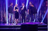 "<p>The judges from <em>The Voice</em> stop by <em>The Late Show with Jimmy Fallon.</em> Newly single Gwen and newly single Blake sing <a href=""http://www.youtube.com/watch?v=Xcrz6FbNbz4"" rel=""nofollow noopener"" target=""_blank"" data-ylk=""slk:'Hotline Bling'"" class=""link rapid-noclick-resp"">'Hotline Bling'</a> and the sparks between the pair literally pop out of our screens. </p>"