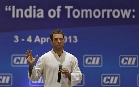 Rahul Gandhi, a lawmaker and son of India's ruling Congress party chief Sonia Gandhi, speaks during the 2013 AGM and national conference of Confederation of Indian Industry (CII) in New Delhi