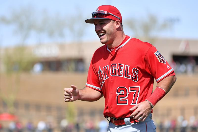 After a busy Angels offseason, Mike Trout has reason to smile. (Getty Images)