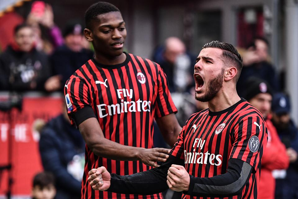 AC Milan's French defender Theo Hernandez (R) celebrates with AC Milan's Portuguese forward Rafael Leao after scoring during the Italian Serie A football match AC Milan vs Udinese on January 19, 2020 at the San Siro stadium in Milan. (Photo by Marco Bertorello / AFP) (Photo by MARCO BERTORELLO/AFP via Getty Images)