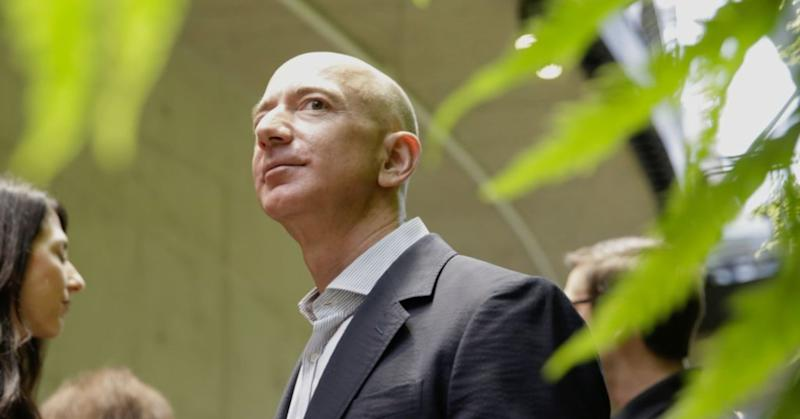 Amazon CEO Jeff Bezos tours the facility at the grand opening of the Amazon Spheres, in Seattle, Washington on January 29, 2018.