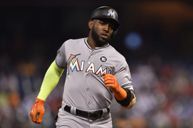 Marcell Ozuna is the third starter to be traded by the Miami Marlins in the past week. (AP)