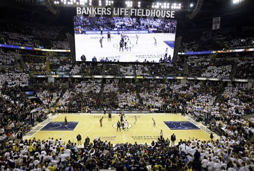 The Indiana Pacers and Miami Heat tip-off for the start of Game 3 of the NBA Eastern Conference basketball finals in Indianapolis, Sunday, May 26, 2013. (AP Photo/Michael Conroy)