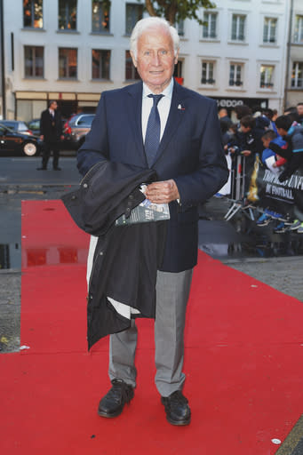 FILE - In this May 11 2014 file photo, French former head coach of the French national team Michel Hidalgo arrives at the 23rd edition of the National Union of Professional Soccer (UNFP) Awards in Paris. Hidalgo took charge from 1976-84 and led France to its first major title at the European Championship in '84. The French Football Federation said on its website that Hidalgodied on Thursday March 26, 2020. He was 87. (AP Photo/Jacques Brinon, File)