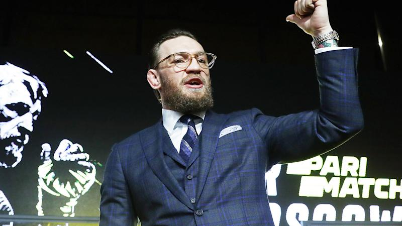 Conor McGregor, pictured here at a press conference in Russia where he announced his comeback.
