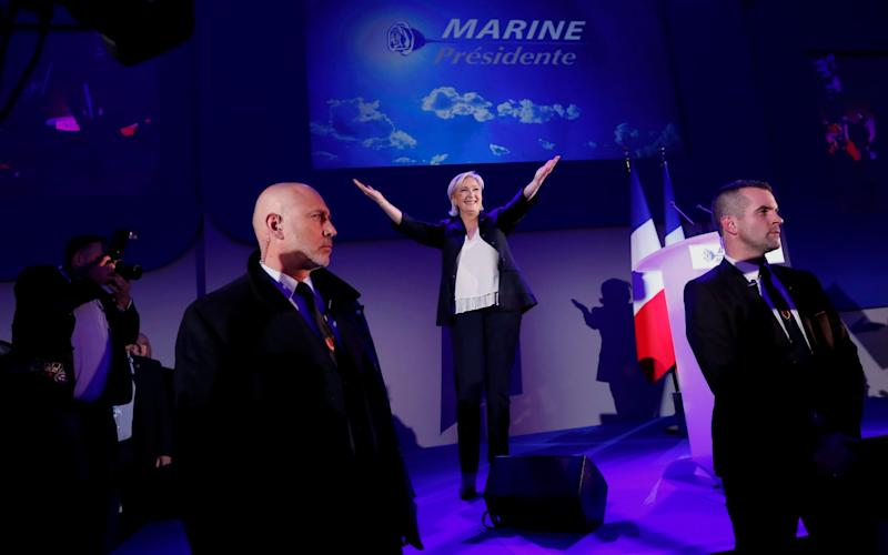 Marine Le Pen delivers a speech after finishing second of the first round of the French presidential elections in Henin-Beaumont - Credit: IAN LANGSDON/EPA