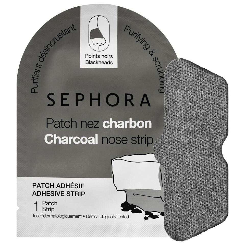 """<p>If you're trying to get some gunk out of your pores, this <a href=""""https://www.refinery29.com/en-us/activated-charcoal-skin-products"""" rel=""""nofollow noopener"""" target=""""_blank"""" data-ylk=""""slk:charcoal"""" class=""""link rapid-noclick-resp"""">charcoal</a> strip will lend a helping hand.</p><br><br><strong>Sephora Collection</strong> Charcoal Nose Strip, $3, available at <a href=""""https://www.sephora.com/product/nose-strip-P408905?skuId=1785807&publisher_id=255779&sub_publisher=g&is_mobile=&sub1=&sub_keyword=&sub_campaign=194784279&sub_placement=&gdevice=c&gclid=CMiVyfScttECFdeCswodVHMOLw&site=_search&om_mmc=ppc-GG_194784279_15775290159_pla-18283950120_1785807_50233218639_9067609_c&gmodel=&country_switch=&lang=en&sub_ad=50233218639"""" rel=""""nofollow noopener"""" target=""""_blank"""" data-ylk=""""slk:Sephora"""" class=""""link rapid-noclick-resp"""">Sephora</a>"""