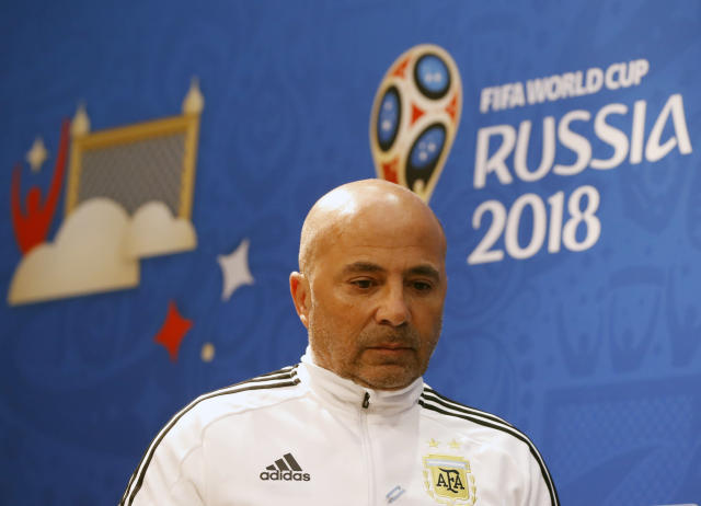 Argentina coach Jorge Sampaoli arrives for a press conference on the eve of the group D match between Croatia and Argentina in the Nizhny Novgorod stadium in Nizhny Novgorod, Russia, Wednesday, June 20, 2018. (AP Photo/Petr David Josek)