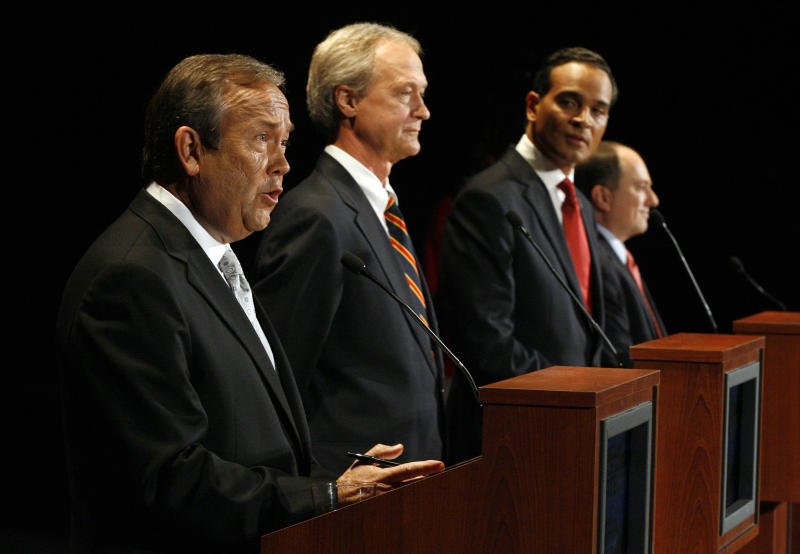 Rhode Island gubernatorial candidates from left, Republican John Robitaille, Independent Lincoln Chafee, Democrat Frank Caprio, and Moderate Party Ken Block during a televised debate Tuesday, Oct. 26, 2010, in Providence, R.I. (AP Photo/Stew Milne)