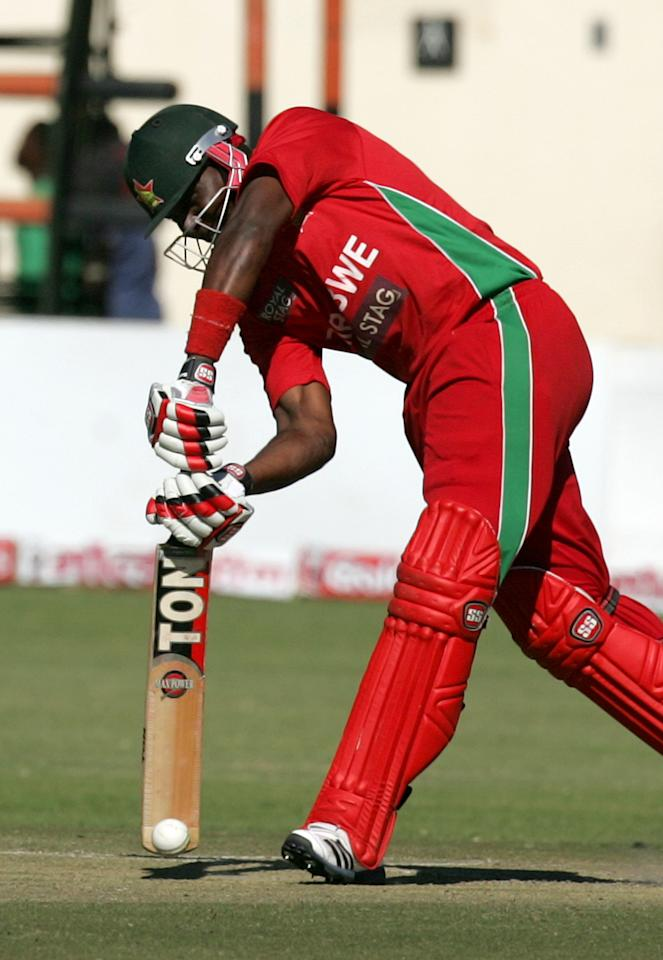 Zimbabwe batsman Hamilton Masakadza in action during the second one-day international ODI series between hosts Zimbabwe and India at Harare Sports Club on July 26, 2013. AFP PHOTO / Jekesai Njikizana.        (Photo credit should read JEKESAI NJIKIZANA/AFP/Getty Images)