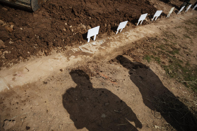 FILE - In this April 7, 2020, file photo, temporary placards mark the plots of those recently buried, mostly from coronavirus, at Hebrew Free Burial Association's Mount Richmond Cemetery in the Staten Island borough of New York. (AP Photo/David Goldman, File)
