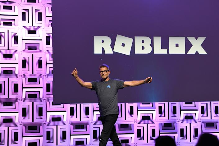 BURLINGAME, CALIFORNIA - AUGUST 10: David Baszucki, founder and CEO of Roblox, presents at the Roblox Developer Conference on August 10, 2019 in Burlingame, California. (Photo by Ian Tuttle/Getty Images for Roblox)