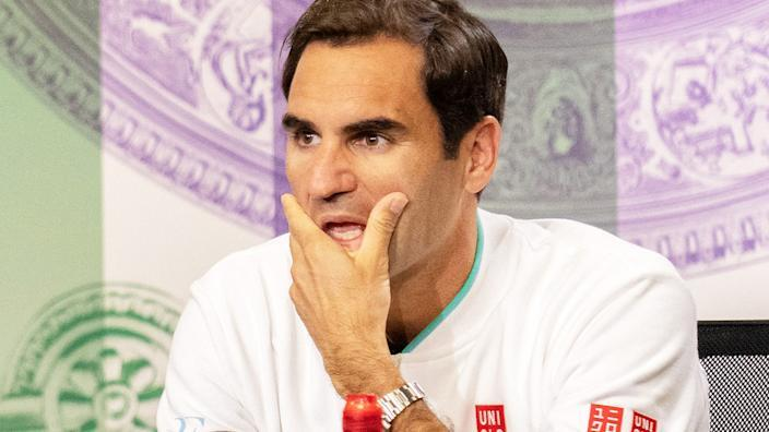 Seen here, Roger Federer speaks to the media after his loss in the quarter-finals at Wimbledon.