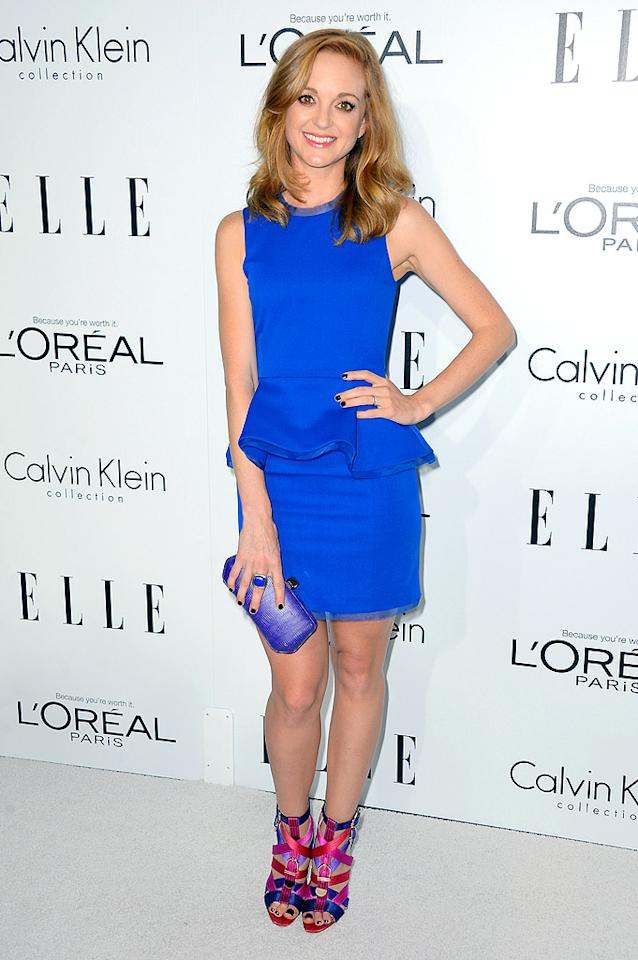 "Speaking of ""Glee,"" Lea's co-star, Jayma Mays (aka Emma Pillsbury), looked cute as can be as she made her way into Elle's annual <a target=""_blank"" href=""http://omg.yahoo.com/photos/elle-s-women-in-hollywood-slideshow/"">Women in Hollywood</a> fete in this eye-catching, electric-blue Alexandra Vidal dress, which featured a flared waistline. A David Yurman cocktail ring, Rebecca Minkoff clutch, and loud Brian Atwood sandals made for truly awesome accessories. (10/15/2012)<br><br><a target=""_blank"" href=""http://bit.ly/lifeontheMlist"">Follow 2 Hot 2 Handle creator, Matt Whitfield, on Twitter!</a>"