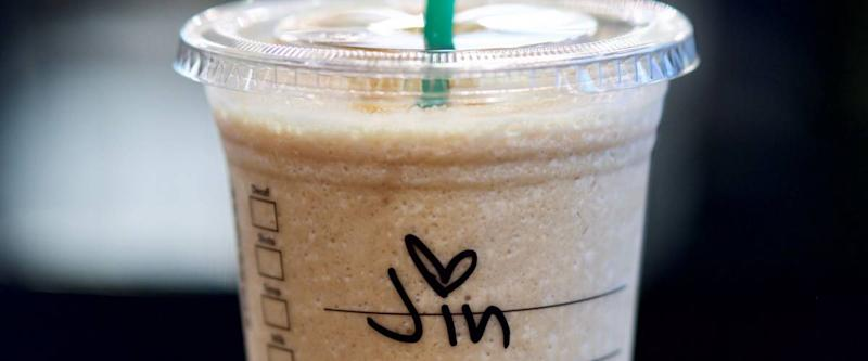 hand written name on a disposable starbucks cup