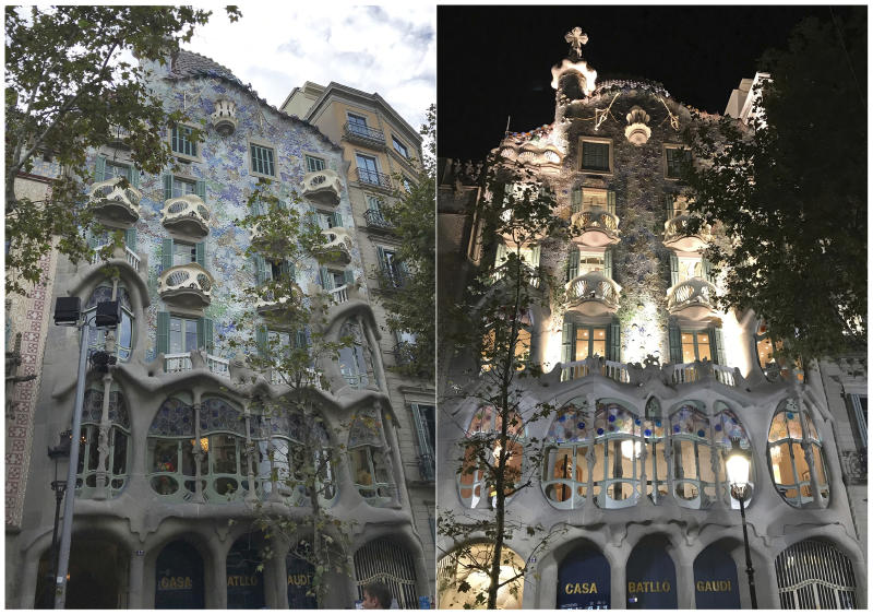 This combination of photos taken in Oct. 2019 show Anton Gaudí's iconic Casa Batlló, which has a completely different look in the daylight and at night, in Barcelona, Spain. (Courtney Bonnell via AP)
