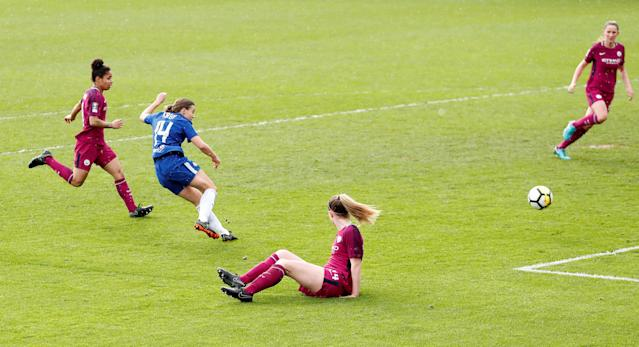 Soccer Football - Women's FA Cup Semi Final - Chelsea vs Manchester City - The Cherry Red Records Stadium, London, Britain - April 15, 2018 Chelsea's Fran Kirby scores their second goal Action Images/Peter Cziborra