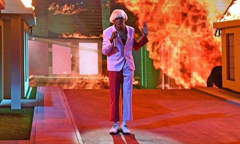 'It's just a politically correct way to say the n-word' ... Tyler, the Creator performs at the Grammys.