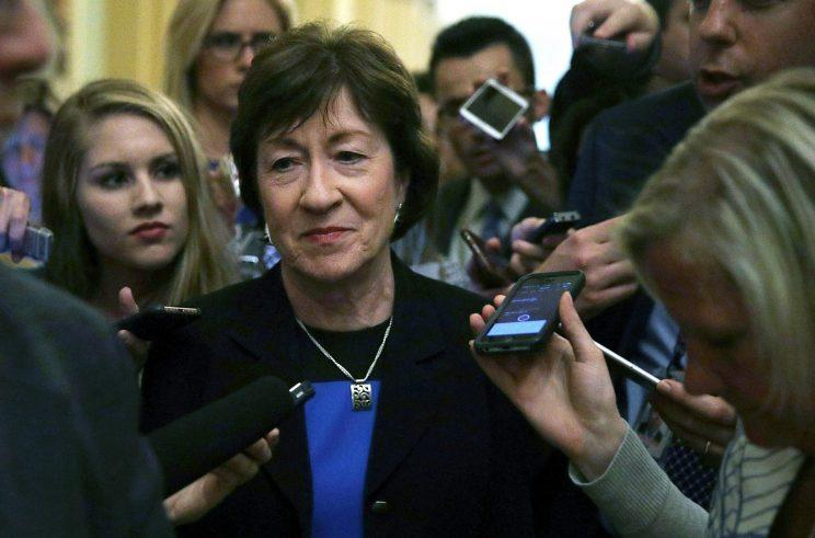 Sen. Susan Collins, R-Maine, is surrounded by members of the media after she viewed the details of a new health care bill July 13, 2017, at the Capitol in Washington, D.C. (Photo: Alex Wong/Getty Images)