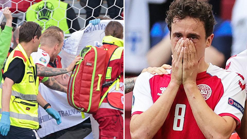In this picture Christian Eriksen is stretchered off the pitch after collapsing at Euro 2020.