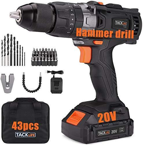 TACKLIFE 20V Cordless Drill, 35N.m, 43pcs, 1 Hour Fast Charger & 2.0Ah Li-ion Battery, Hammer D…