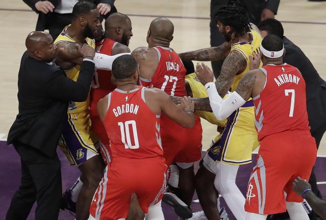 The Rockets and Lakers were involved in a brawl Saturday night. (AP Photo)