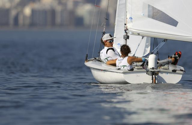 2016 Rio Olympics - Sailing - Final - Women's Two Person Dinghy - 470 - Medal Race - Marina de Gloria - Rio de Janeiro, Brazil - 17/08/2016. Lara Vadlau (AUT) of Austria and Jolanta Ogar (AUT) of Austria wait for the start of the race. REUTERS/Benoit Tessier FOR EDITORIAL USE ONLY. NOT FOR SALE FOR MARKETING OR ADVERTISING CAMPAIGNS.