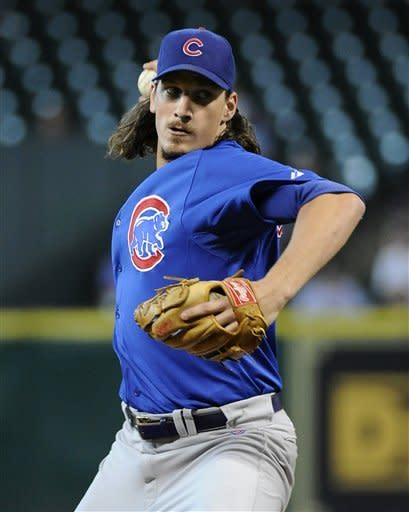 Chicago Cubs' Jeff Samardzija delivers a pitch to a Houston Astros batter in the first inning of a baseball game Wednesday, May 23, 2012, in Houston. (AP Photo/Pat Sullivan)
